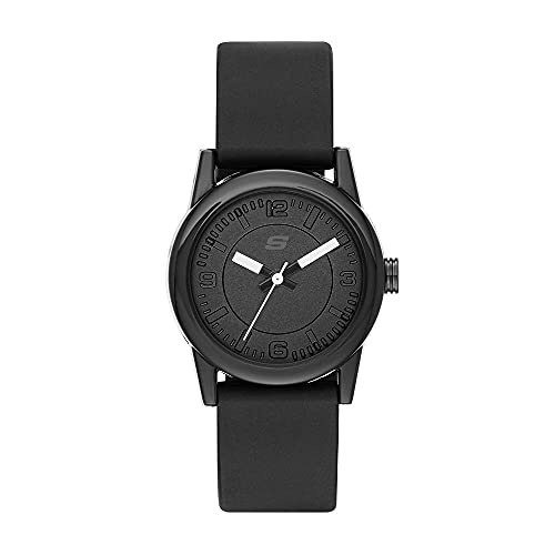 Skechers - Reloj de Cuarzo para Mujer, Silicona Negra, SR6028