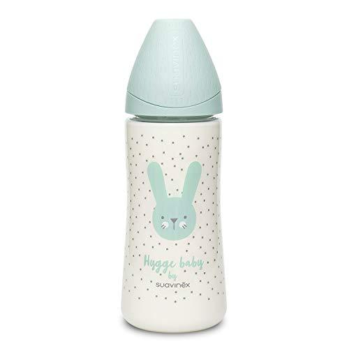 Suavinex Biberón Premium Tetina Redonda de Silicona Flujo Denso 0% BPA, 360ml, Rabbit Verde