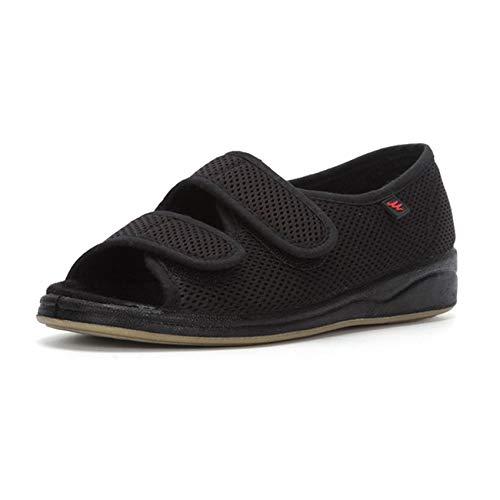 SZFGYJ Zapatillas Diabéticas Para Mujer, Zapatos Hinchados Transpirables Edema Ajustable Zapatos De Caminata Antideslizante Sandalias De Punta Abierta Adicionales Ancianos,Negro,40