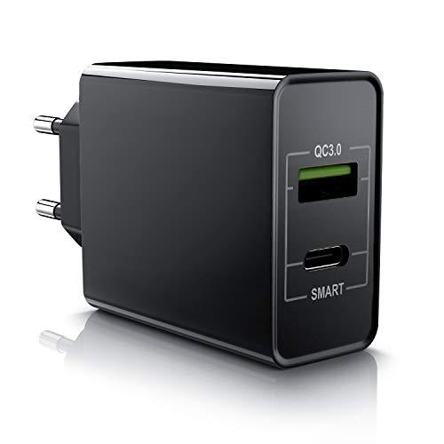 CSL - USB Ladegerät 33W QC 3.0-2 Port Netzteil USB Typ A Typ C inkl. Quick Charge Schnellladefunktion - Smart Charge intelligentes Laden - geeignet für Handys Smartphones Navism Tablets - schwarz