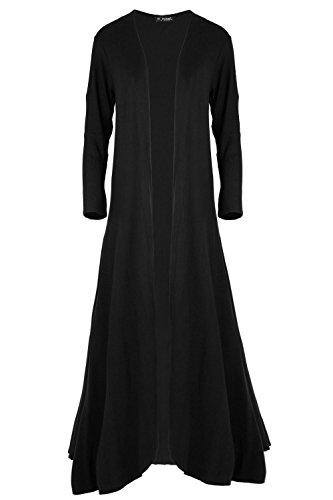 Fashion Star Womens Waterfall Long Sleeves Plain Floaty Open Front Oversized Baggy Draped Jacket Long Flared Maxi Cardigan Black