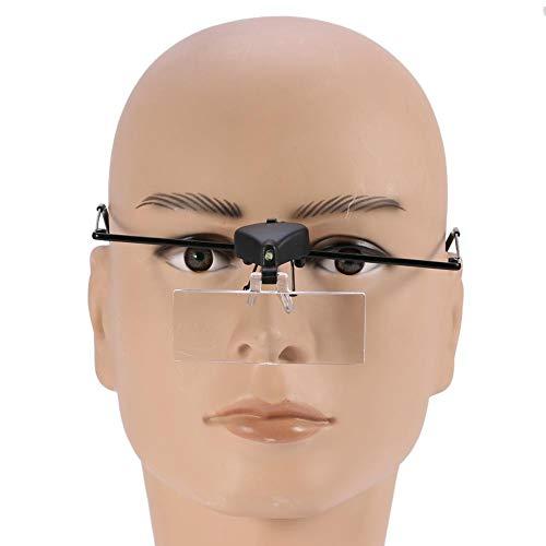 Lupenbrille mit LED-Licht, Brillenlupe mit Licht Wimpernverlängerung Lupe für Juwelier Uhrmacher 1,5X 2,5X 3,5X