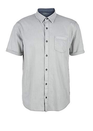 s.Oliver RED Label Herren Regular: Strukturhemd mit Waschung Light Grey XL