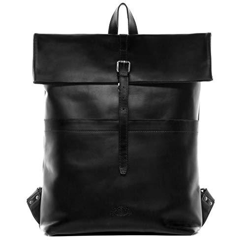 SID & VAIN Rucksack echt Leder Clay XXL groß Backpack Tagesrucksack Kurierrucksack 15.4 Zoll Laptop Lederrucksack Laptopfach 15,6 Zoll Lederrucksack Herren schwarz