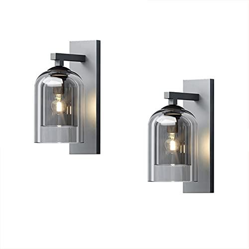 MZBZYU 2 Piezas Lámpara de Pared de Alta Transmitancia de Luz con Doble Acristalamiento E27 Pared Retro Apliques de Vidrio Luces Clásicas Iluminación, para Tocador Dormitorio