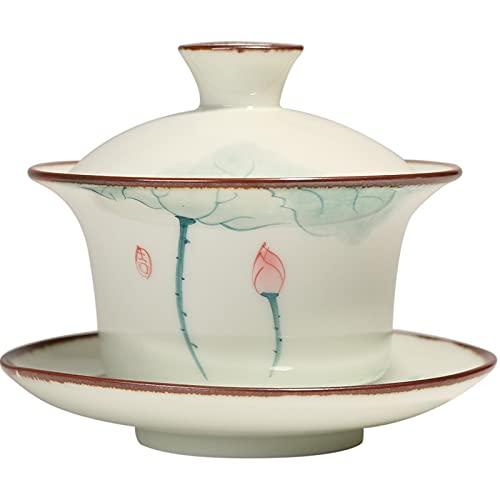 YUERD910 130ml Porcellana Dipinto a Mano Lotus Gaiwan pigmentato Tradizionale Cinese del tè Zuppiera Kung Fu Tea Bowl Tazza di tè