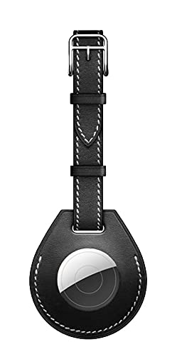 KURT HOME Elegante accesorio colgante resistente a arañazos funda portátil para Apple AirTags con cinta como etiqueta de equipaje en piel sintética negra