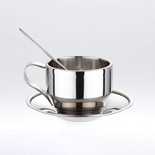 Taza café platillo de Taza de café de Acero Inoxidable Cuchara Set Tazas de café de Doble Pared de Acero Inoxidable