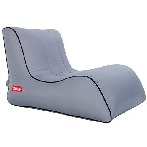 Luchtbank, opblaasbare luie ligstoel met hoofdsteun, zelfopblaasbare slaapbank, draagtas, voor achtertuin strandcamping, picknick, reizen large Grijs