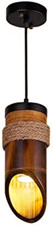 CMDDYY Massivholzleuchter-Retro-Katiebwerkseroute Bambus-Deckenlampe Kronleuchter Twine dekorative Beleuchtung, E27-keine Lichtquelle 10x90cm 30x90cm,1head