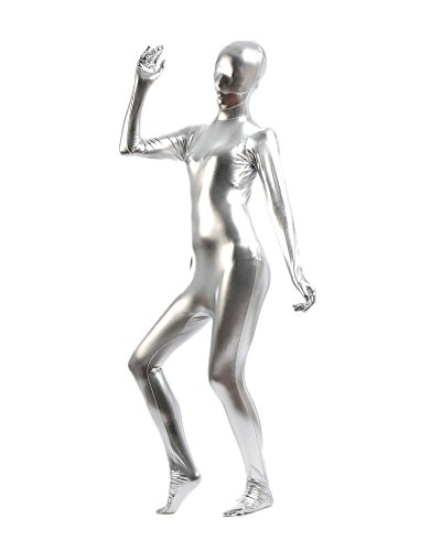 Gladiolus Erwachsene Kostüme Herren Shiny Einteiler Overall Ganzkörperanzug Faschings Anzug Silber L