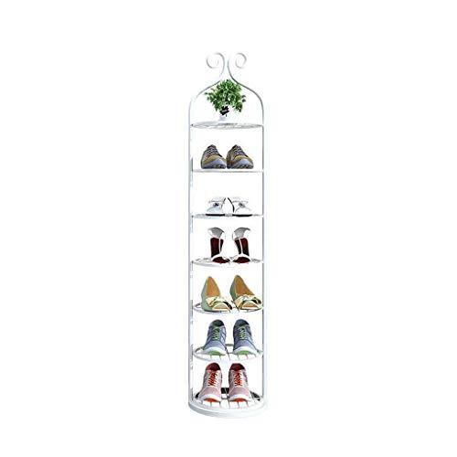 Kiter Zapatero de hierro multicapa para zapatos americanos, de lujo, estrecho, para puerta de hogar, pequeño, zapatero económico (color: blanco, tamaño: 7 niveles)