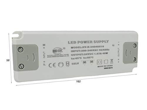 LEDLUX CV8240 Alimentatore Trasformatore CV 40W 24V 1,67A Super Slim Solo 19mm Spessore