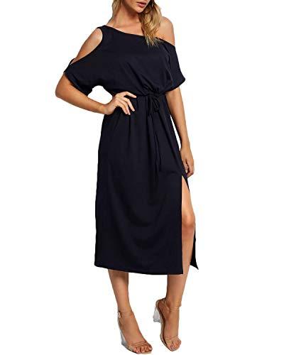 YOINS Damen Sommerkleid Lang Sexy Schulterfrei Blusen Schwarz Strandkleid Maxikleider Einfarbig Lange Kleider Dunkelblau EU40-42