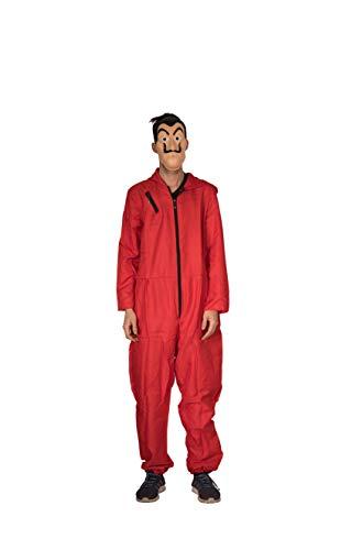 Zoelibat Salvador Dali - Tuta da Jumpsuit, casa del Denaro, La Casa de Papel, Carnevale, Halloween, Feste a Tema, Colore: Rosso