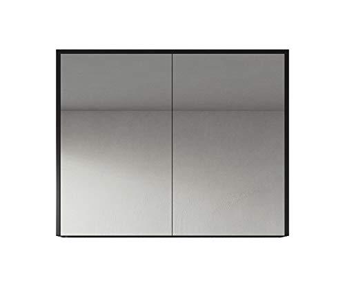 Spiegelschrank Cuba 90 cm Schwarzes Holz - Schrank Spiegelschrank Spiegel Badezimmer Badmöbel Hängeschrank