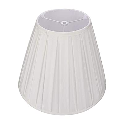 Off White Medium Pleated Barrel Lamp Shades, Alucset TC Cloth Lampshades for Table Lamp and Floor Light, 6x13x10 inch,Natural Linen Hand Crafted,Spider