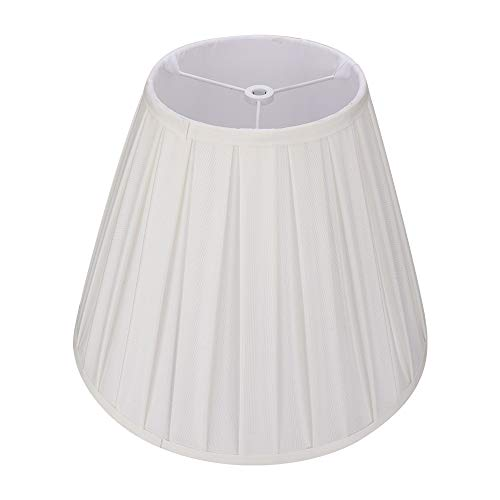 Off White Medium Pleated Barrel Lamp Shades, Alucset TC Cloth Lampshades for Table Lamp and Floor Light, 6x13x10 inch, Chemical Fiber Fabric, Spider