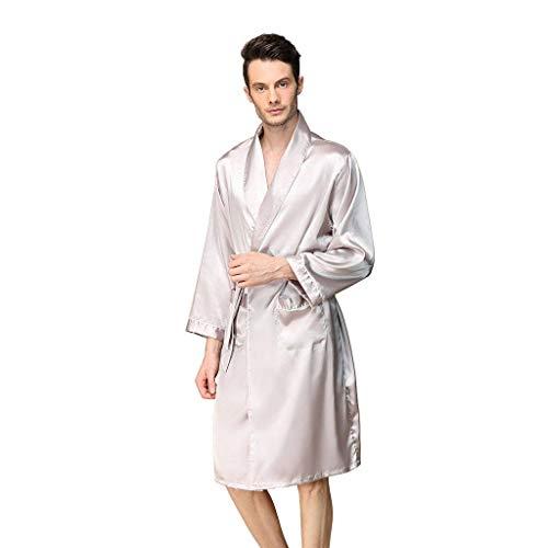 Heren satijnen robe, dunne zijde kimono badjas zacht lichtgewicht ochtendjas saunamantel vrijetijdskleding voor heren