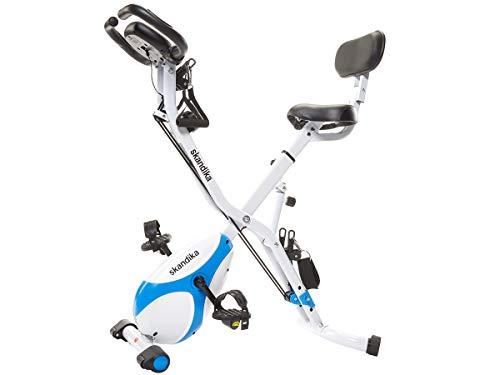 skandika Fitnessbike Foldaway X-3000 X-Bike, F-Bike mit Lehne, Ergometer Fahrrad, klappbarer Hometrainer | Multi-Gym 4 in 1 Heimtrainer, Liegeergometer, Beintrainer, Kraftstation | blau/weiß