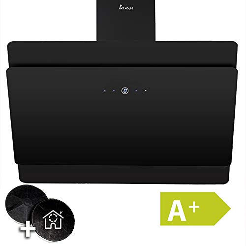 Afzuigkap, wandafzuigkap (90cm, roestvrij staal, zwart glas, 9 stappen, efficiëntieklasse A+, LED-verlichting, TouchSelect-sensortoetsen) SOLO909S - KKT KOLBE