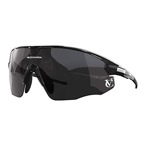 Zwarte raketzonnebril, zwarte brug, spiegel/geel/heldere glazen, incl. etui