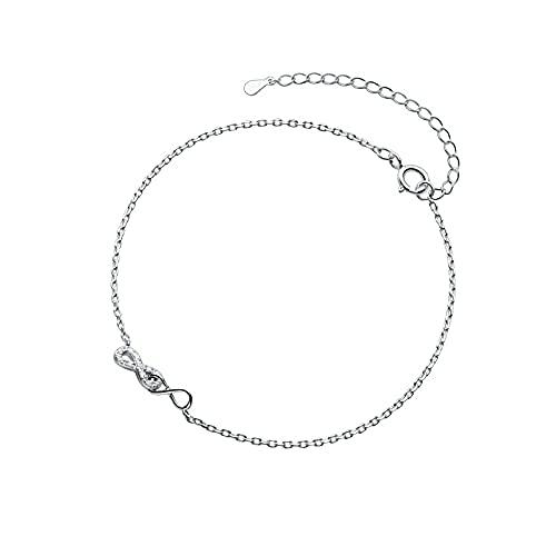 HZYXGS Tobilleras de Cadena de Borla de oblea de Luna Dulce de Plata de Ley 925 auténtica a la Moda para Mujer, Regalo de joyería para el Mejor Amigo