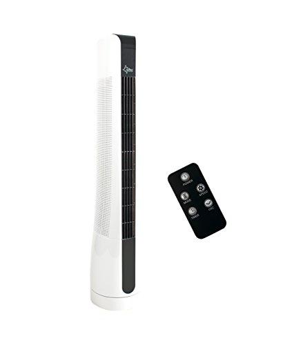 SUNTEC Turmventilator mit Fernbedienung, Timer | Standventilator Schwarz / Weiss | CoolBreeze 9000 - Leise 50 Watt | Fan Turm Ventilator 3 Stufen | Windmaschine | für Schlafzimmer, Büro, Wohnung