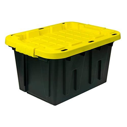 Juggernaut Storage 12 Gal Plastic Storage Tote Black Bottom and Yellow Snap Lid 6 pk - 12GALTOTEBY-6PK