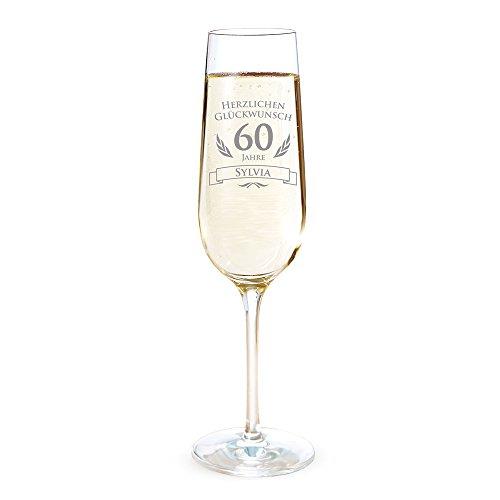 AMAVEL Sektglas mit Gravur zum 60. Geburtstag – Personalisiert mit [Namen] – Sektflöte als Geburtstagsgeschenk – Geschenkidee für Frauen – Glas für Sekt, Champagner und Prosecco – Sektkelch