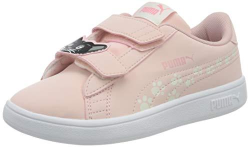 PUMA Unisex Kinder Smash v2 Animals V PS Sneaker, Peachskin-Vaporous Gray, 33 EU