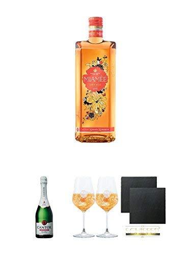 Miamee Orange Goldwasser Likör 0,7 Liter + Cantor alkoholfreier Sekt 0,75 Liter + Miamee Goldwasser Cocktail Gläser mit 5cl Eichstrich 2 Stück + Schiefer Glasuntersetzer eckig ca. 9,5 cm Ø 2 Stück