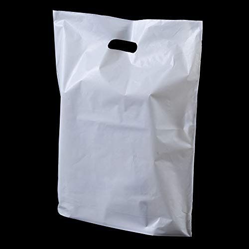 100x White Patch Handle Plastic Bags - 15 x 18 x 3 by White Patch Handle Plastic Bags