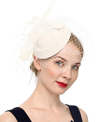 Fascinators Hats 20s 50s Hat Pillbox Hat Cocktail Tea Party Headwear with Veil for Girls and Women(B-beige)