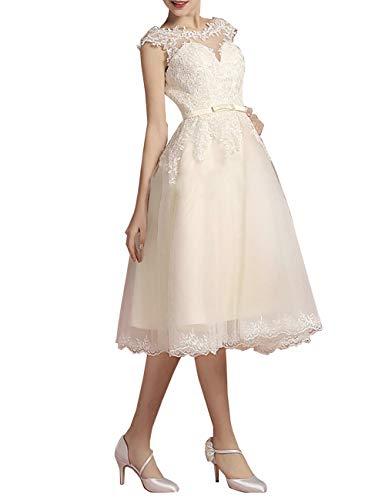 HUINI Brautkleider Hochzeitskleider Damen Spitzen Prinzessin Strand Brautmode A-Linie