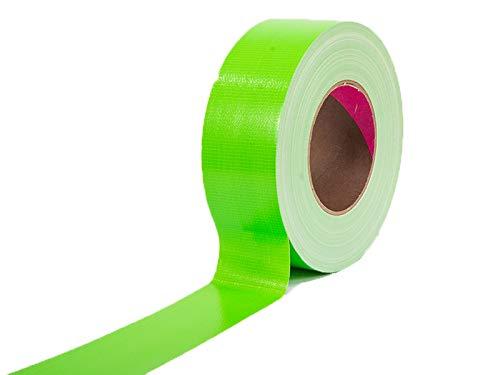 Profi Tape Gewebeklebeband Klebeband für Bühnenbau Gewebeband Verlegerklebeband - Neon Grün, 5cm x 50m, Matt, Wasserfest, Beschriftbar, Rückstandsfrei Abziehbar