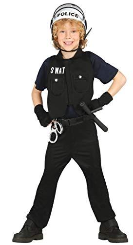 Guirca - Disfraz de policía con chaleco y camisa, para niños de 5-6 años, color negro (85647)