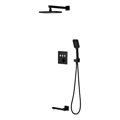 HNBMC - Juego de Ducha con botón de pulsación para Techo (15,2 x 25,4 cm), Color Negro