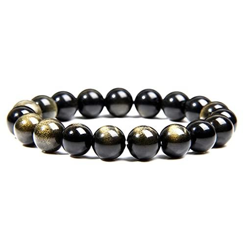 Pulsera de obsidiana de oro natural para hombres, joyería de moda, pulsera de cuentas de piedra redonda pulida de 10 Mm para mujeres, parejas, longitud 23Cm
