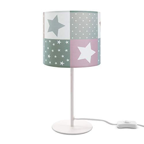 Paco Home Kinderlampe LED Tischlampe Kinderzimmer, Sternen-Motiv, Deko Tischleuchte E14, Lampenfuß:Weiß + Leuchtmittel, Lampenschirm:Pink (Ø18 cm)
