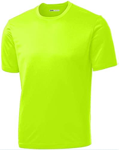 DRI-Equip Short Sleeve Moisture Wicking Running Shirt-Neonyellow-M