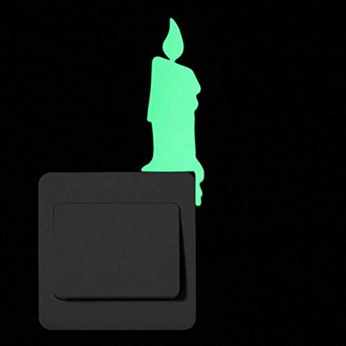 FICI Cartoon Sticker wanddecoratie Glow in the Dark Cat Sticker Fluorescerende Fairy Stars Sticker Room Home Decor, 005 Brandende kaars