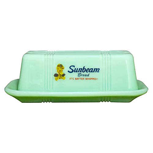 Rhyne & Son Sunbeam Bread Covered Butter Dish - Mint Green Glass Vintage Logo Butter Server with Lid
