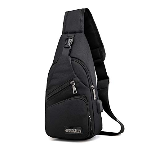 ElkIscoming Sling Bag Chest Bag with USB Charging Port Crossbody Canvas for Men Women Lightweight Hiking Travel Backpack, Canvas, Canvas Black