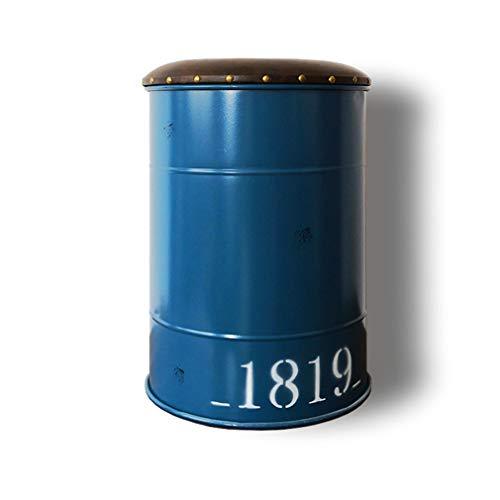TIM-LI Sgabello Poggiapiedi retrò Ottomano con Vano Contenitore - Sgabello da Bar in Ferro A Forma di Barile di Olio in Stile Industriale per Bar Caffetteria Cucina E Casa,B