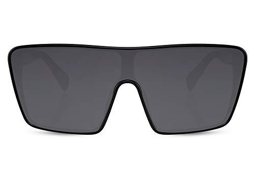 Cheapass Sunglasses Gafas de sol Enorme negro Ojo de Gato Pantalla Lente de una pieza para mujer Alocadas Festival Fiesta Oversized XXL Gafas UV400 protegido