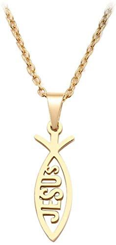 Collar para mujer Collar de acero inoxidable para amantes de las mujeres Hombres afilados Jesús Forma de pez Color Colgante Collar Joyería de compromiso-Oro-colorPulseras de collares para mujeres Homb