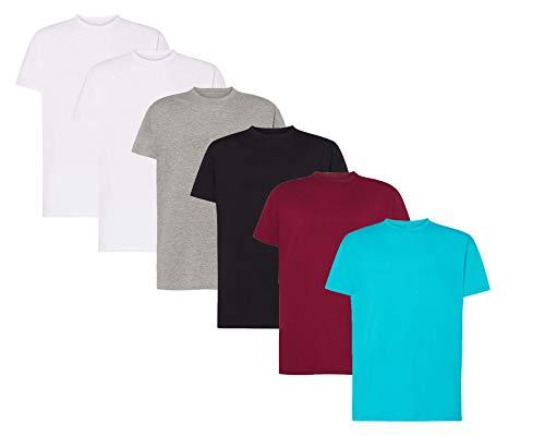 VM - Pack de 6 Camisetas Básicas de Manga Corta para Hombre, Tallas Desde S hasta 5XL, Camisetas 100% Algodón (Pack 2 Blancas + 1 Negra + 1 Gris + 1 Turquesa + 1 Burdeos, L)