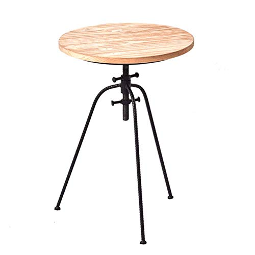 Home&Selected Furniture/Round Side Table Retro Solid Wood 3 Legs Coffee Table Adjustable Height...
