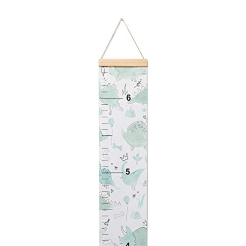 Lila Mae Canvas Child Growth Chart, Watercolor Dinosaur Design Canvas Height Growth Chart for Kids (Green)